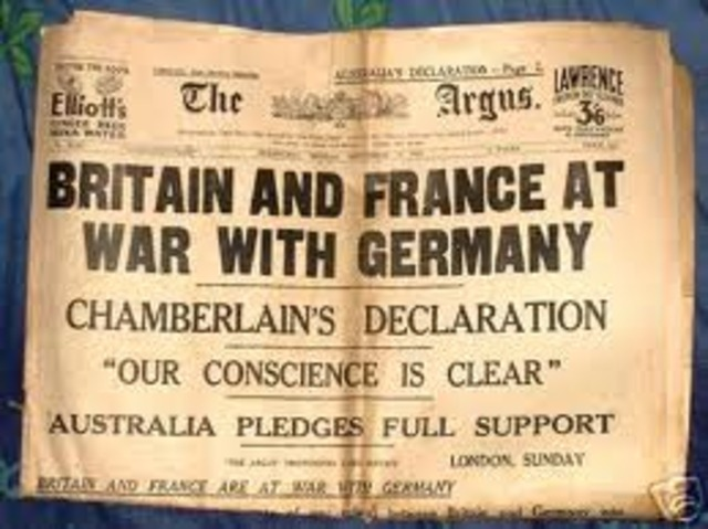 England and France declare war on Germany
