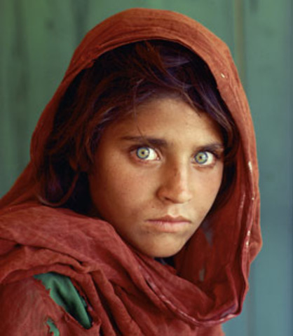 """McCurry captures his most famous photo, """"Afghan Girl"""""""
