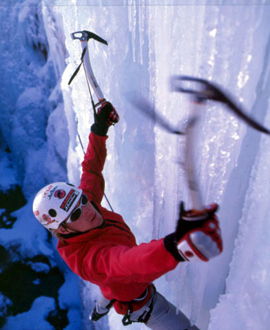 Mark does his first ice climb