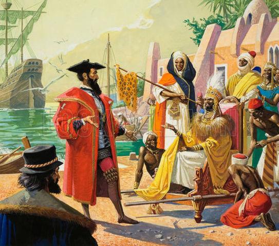Vasco da Gama reaches the port of Calicut on the Indian Ocean