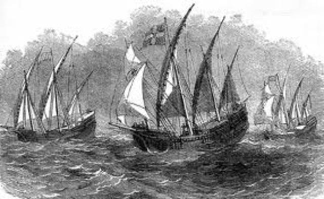 The Nina the Pinta and the Santa Marie Set Sail