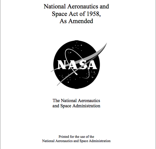 """Congress passed the """"National Aeronautics and Space Act"""""""