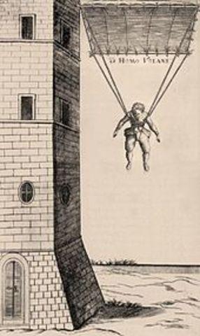 Louis-Sébastien Lenormand first recorded public jump with a Parachut