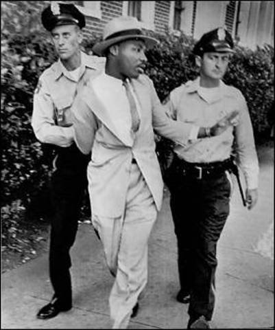 Martin Luther King Jr is arrested during protests