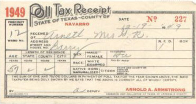24th Amendment  abolishes Poll Taxing