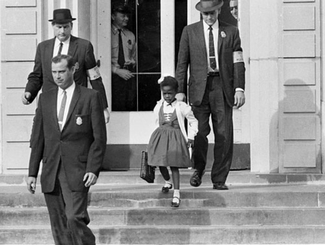 Ruby Bridges becomes the first African American child to attend an all white southern elementary school.