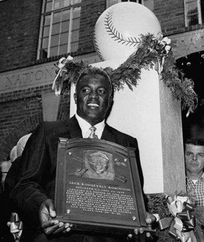 Jackie Robinson becomes the first African American inducted to the Baseball Hall of Fame