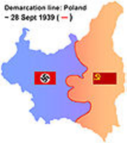 Nazis and Soviets divide up Poland.