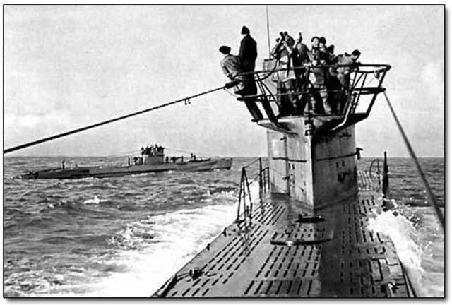 German U-boats attack merchant ships in the Atlantic.