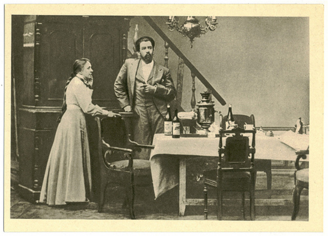Stanislavski directs and acts in the world premiere of Uncle Vanya.