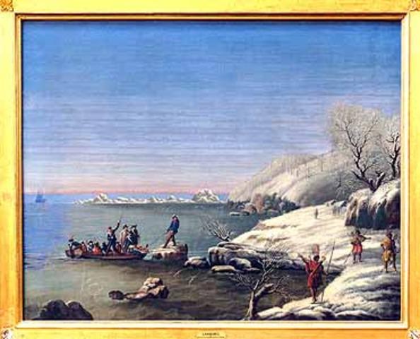 Pilgrims go ashore at Plymouth Rock
