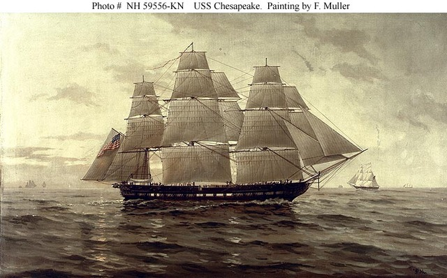 The British navy takes sailors from the US Navy ship to Chesapeake.