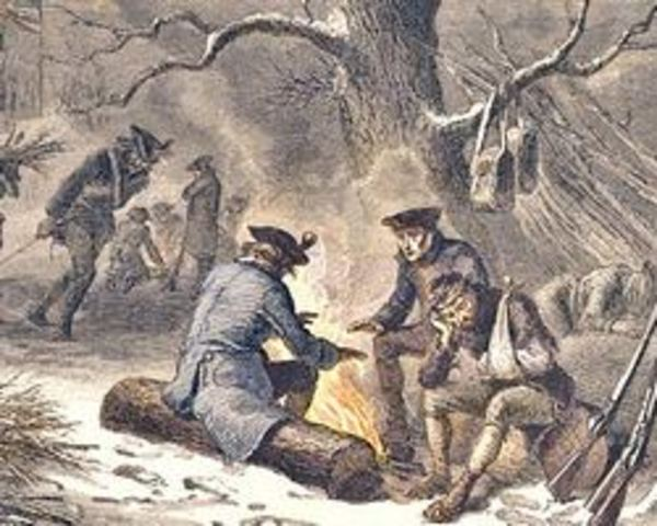Washington's troops arrive at Valley Forge, PA