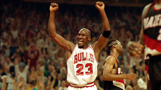 Micheal Jordan and the Bulls beat the Portland Blazers and win their second championship. He was named MVP for the game.