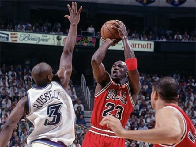 Micheal Jordan and the Bulls beat the Utah Jazz again and win their sixth championship. He was named MVP of the game.