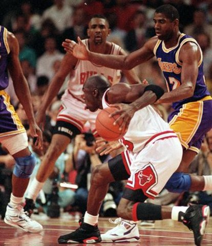 Michael Jordan and the Bulls beat the Lakers. He was named MVP of the game.