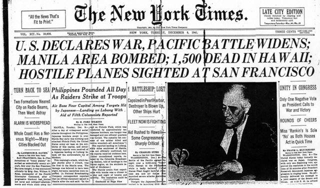 United States and Britain declare war on Japan.