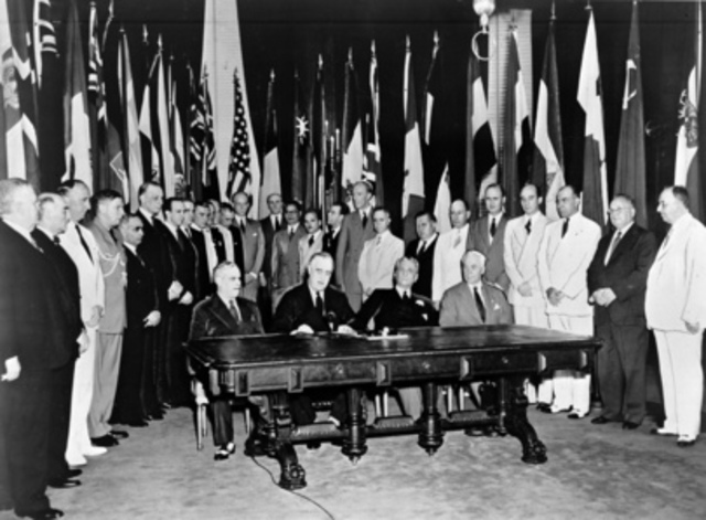 Declaration of the United Nations signed by 26 Allied nations.