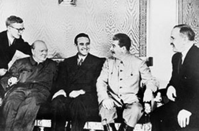 Stalin and Churchill meet in Moscow.