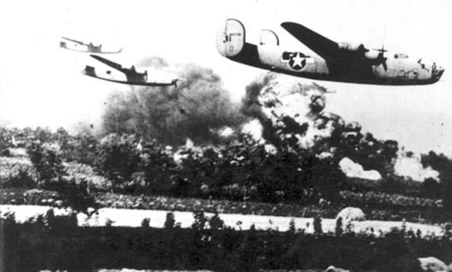First all-American air attack in Europe.