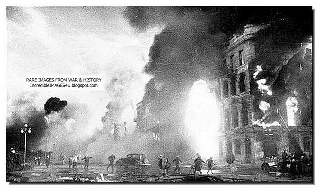 Massive German air raid on Stalingrad, Russia.