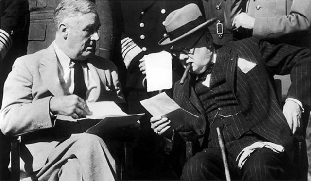 """Casablanca conference between Churchill and Roosevelt. During the conference, Roosevelt announces the war can end only with """"unconditional German surrender."""""""