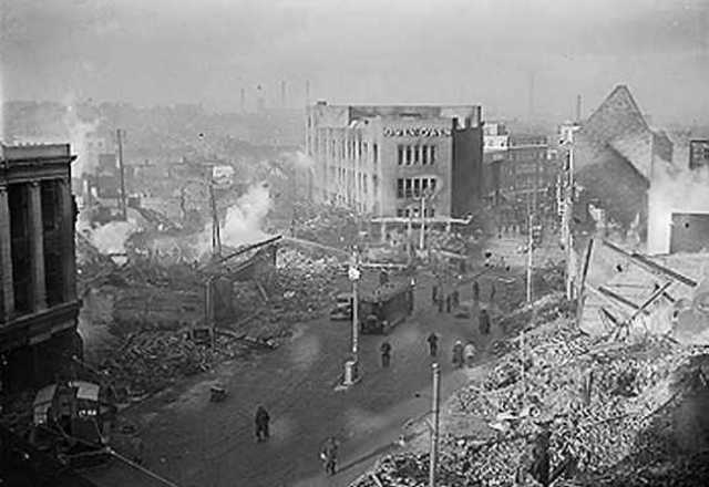 British drop 3000 tons of bombs during an air raid on Hamburg, Germany.
