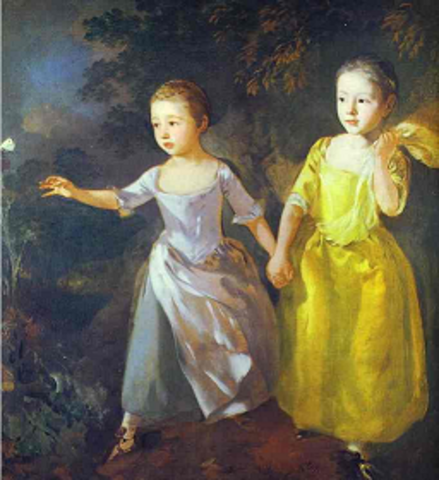 The Painter's Daughters, Margaret and Mary, Chasing Butterfly (Gainsborough)