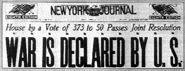 Woodrow Wilson asks Congress to declare war on Germany.