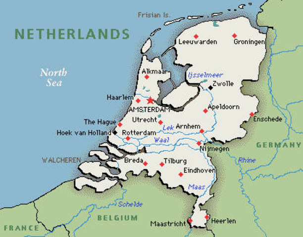 The Germans invade and occupy the Netherlands