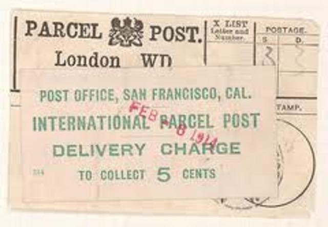 International parcel post begins