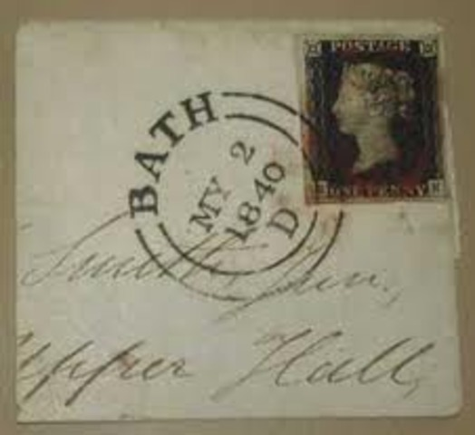 The first postage stamp, The Penny Black, is introduced in England.