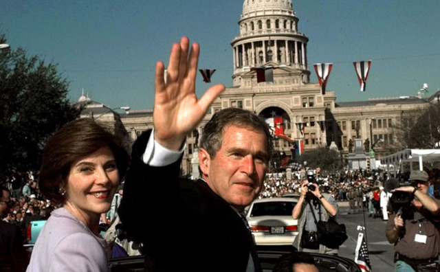 – Vice President George Bush speaks at the May commencement.