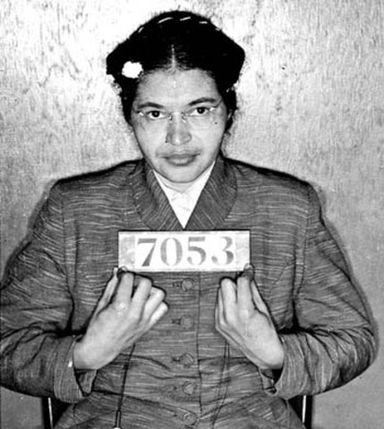 Rosa Park Refuses to Give Up Her Seat on a Bus