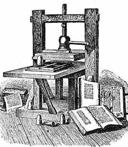 Printing Press Gutenberg and Caxton, movable type printing