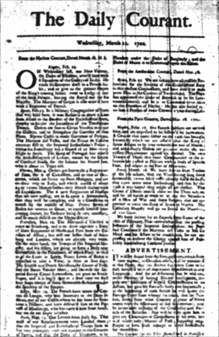 The first English daily newspaper, The Daily Courant, begins publication.