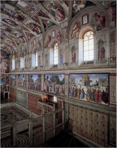 Sistine Chapel With Frescoes Commissioned for the side walls by Pope Sixtus IV