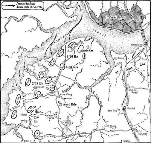 Fall of Singapore 8–15 February 1942.