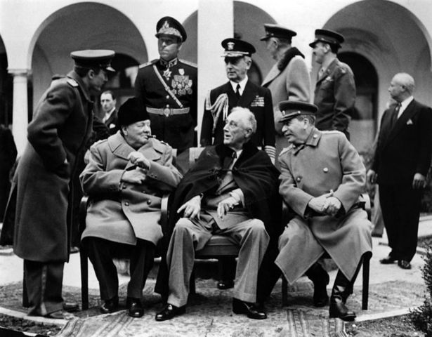 Roosevelt, Churchill, Stalin meet at Yalta.
