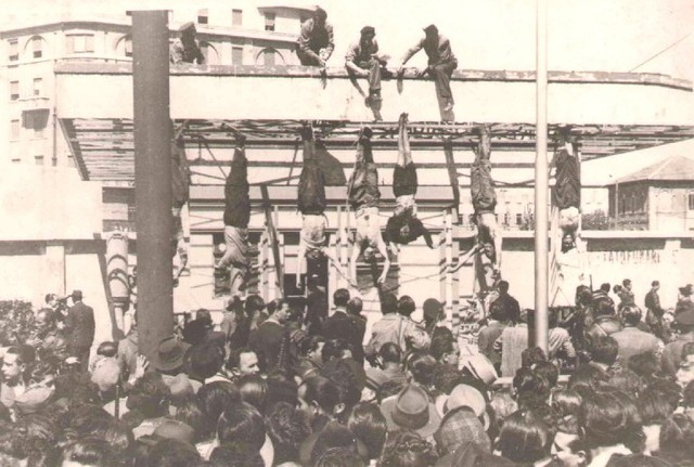 Mussolini is captured and hanged by Italian partisans; Allies take Venice.