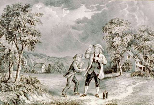Benjamin Franklin tying key to kite in storm