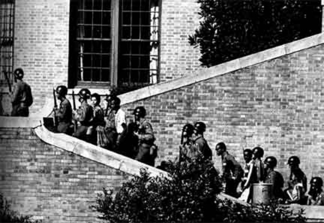 """President Eisenhower places National Gaurd to protect the """"Little Rock Nine"""""""