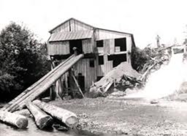 Building of first lumber mill in the Pacific Northwest