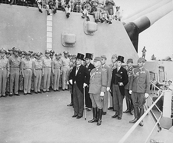 Japanese sign the surrender agreement;  V-J (Victory over Japan) Day.