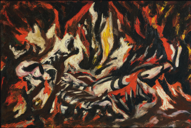 """Pollock painted """"Flame"""" Oil on canvas"""