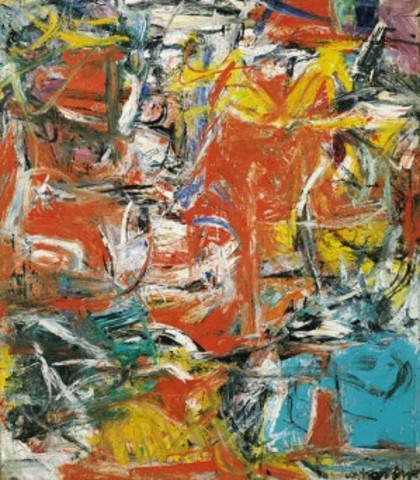 """de Kooning painted """"Composition"""" Oil, enamel and charcoal and canvas"""