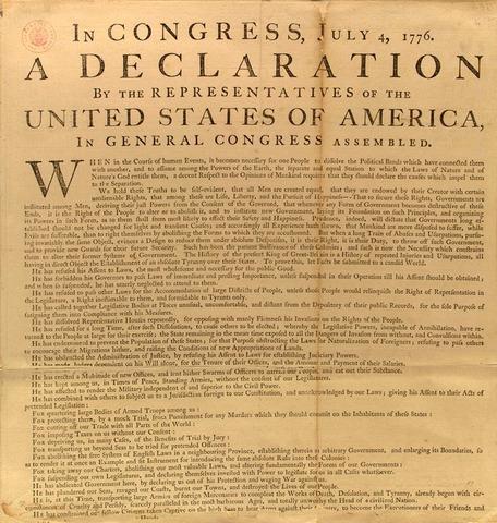 U.S. Declaration of Independence- July4, 1776