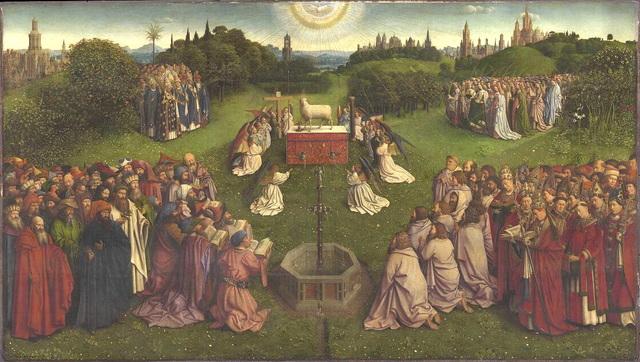 Van Eycks finishes The Adoration of the Mystic Lamb