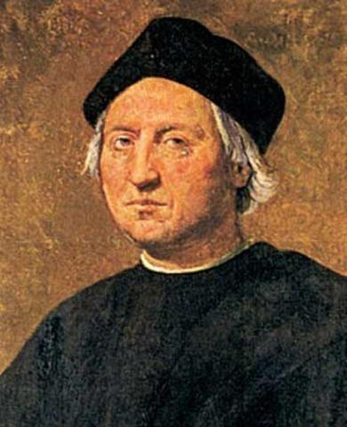 Columbus lands in Bahamas