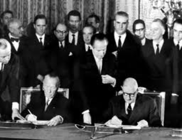 France and West Germany sign treaty of cooperation ending four centuries of conflict.